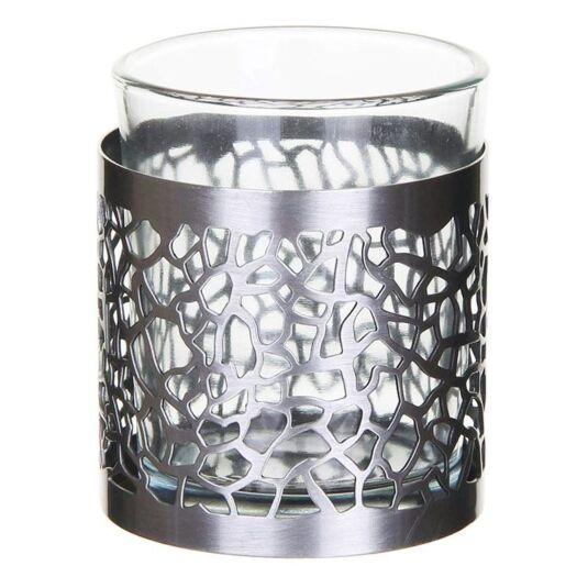 Matrix Brushed Silver Votive Candle Holder