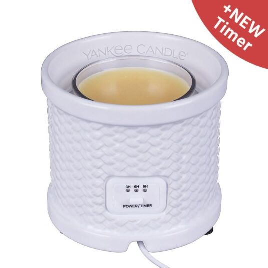 White Weave Scenterpiece Easy MeltCup Warmer - With Timer