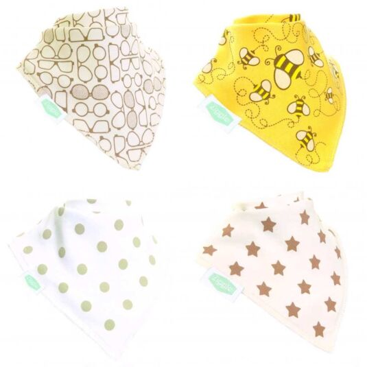 Stylish Cream Unboxed Bandana Bibs – 4 Pack