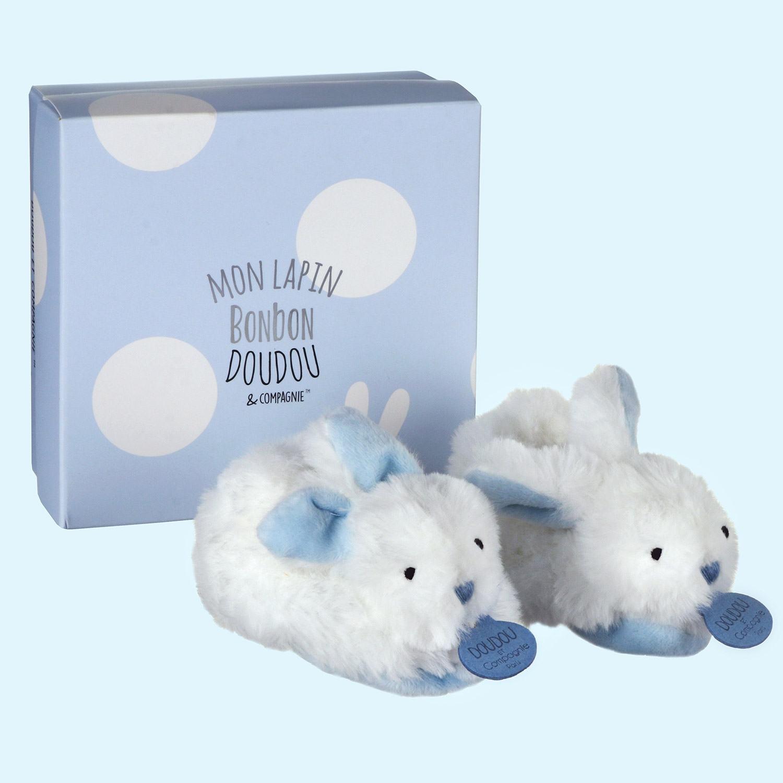 Doudou et Compagnie Blue Bonbon Boxed Baby Booties