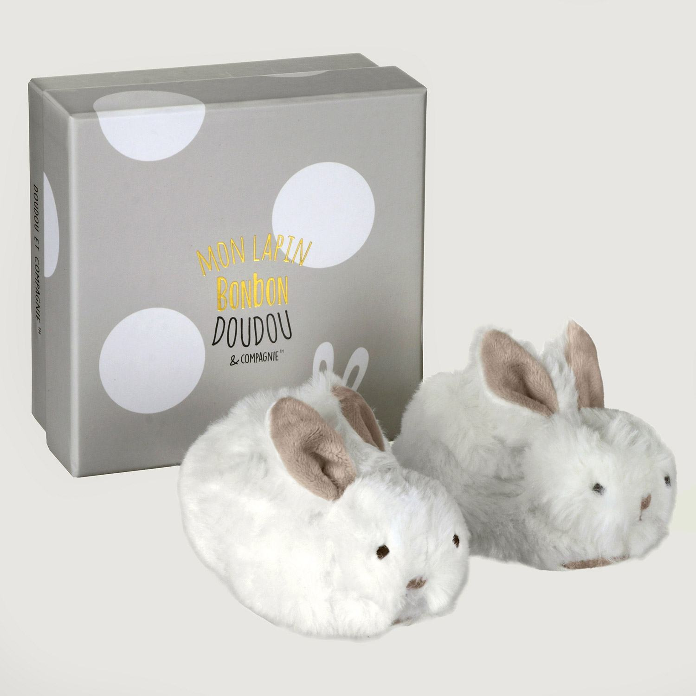 Doudou et Compagnie Brown Bonbon Boxed Baby Booties