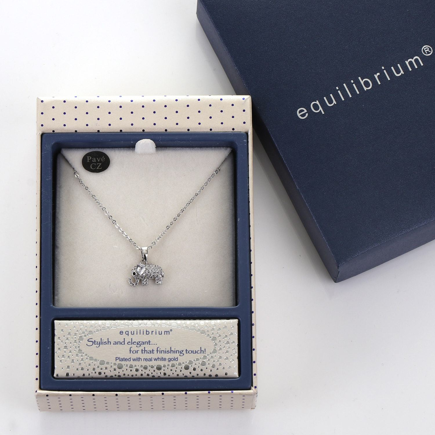 Equilibrium Silver Plated Lucky Elephant Necklace