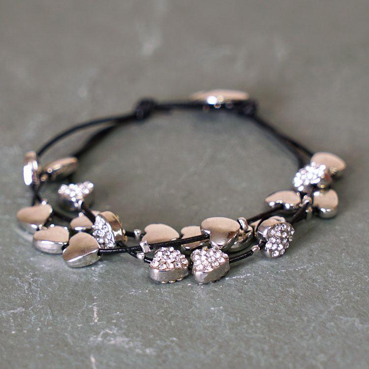equilibrium silver multi hearts leather bracelet
