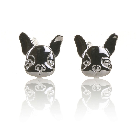 Elements Elements Silver French Bulldog Stud Earrings