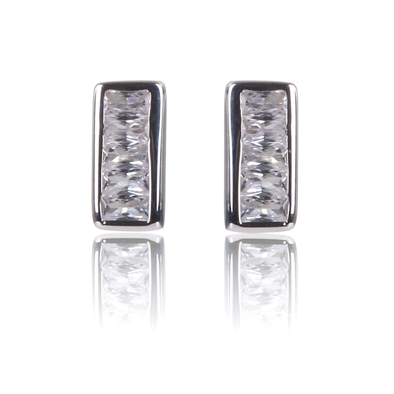 Elements Clear CZ Channel Set Stud Earrings