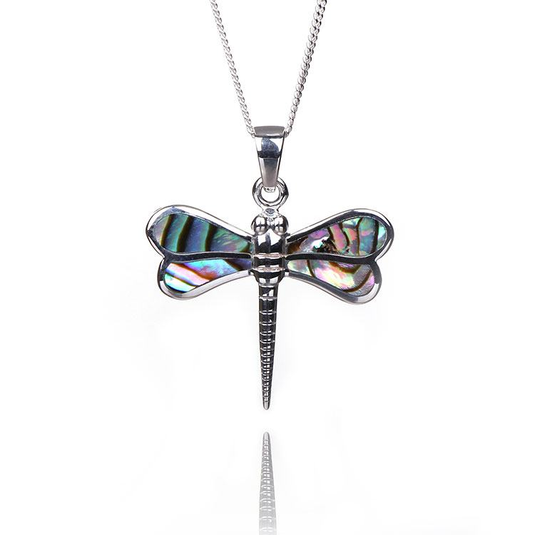 Elements Paua Shell Dragonfly Boxed Silver Pendant