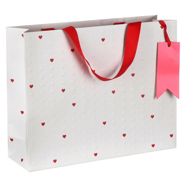 Embossed Hearts Landscape Large Valentines Gift Bag
