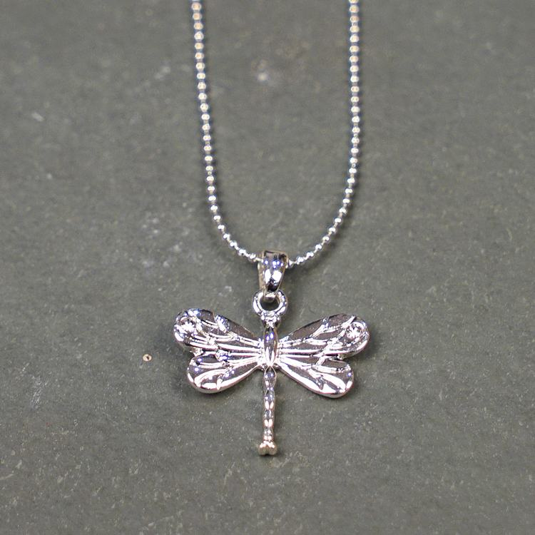equilibrium silver plated diamante dragonfly necklace