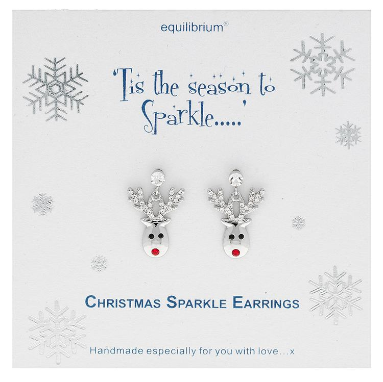 equilibrium christmas sparkle reindeer earrings