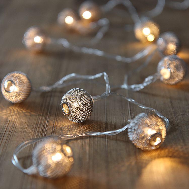 led silver mesh string lights
