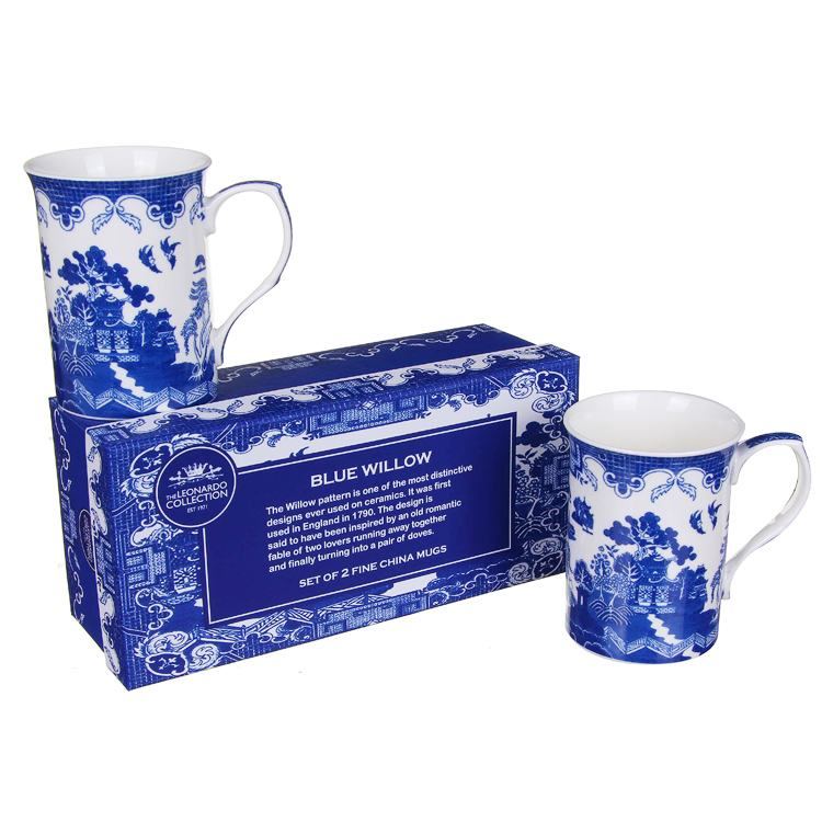 set of 2 blue willow fine china boxed mugs of temptation gif