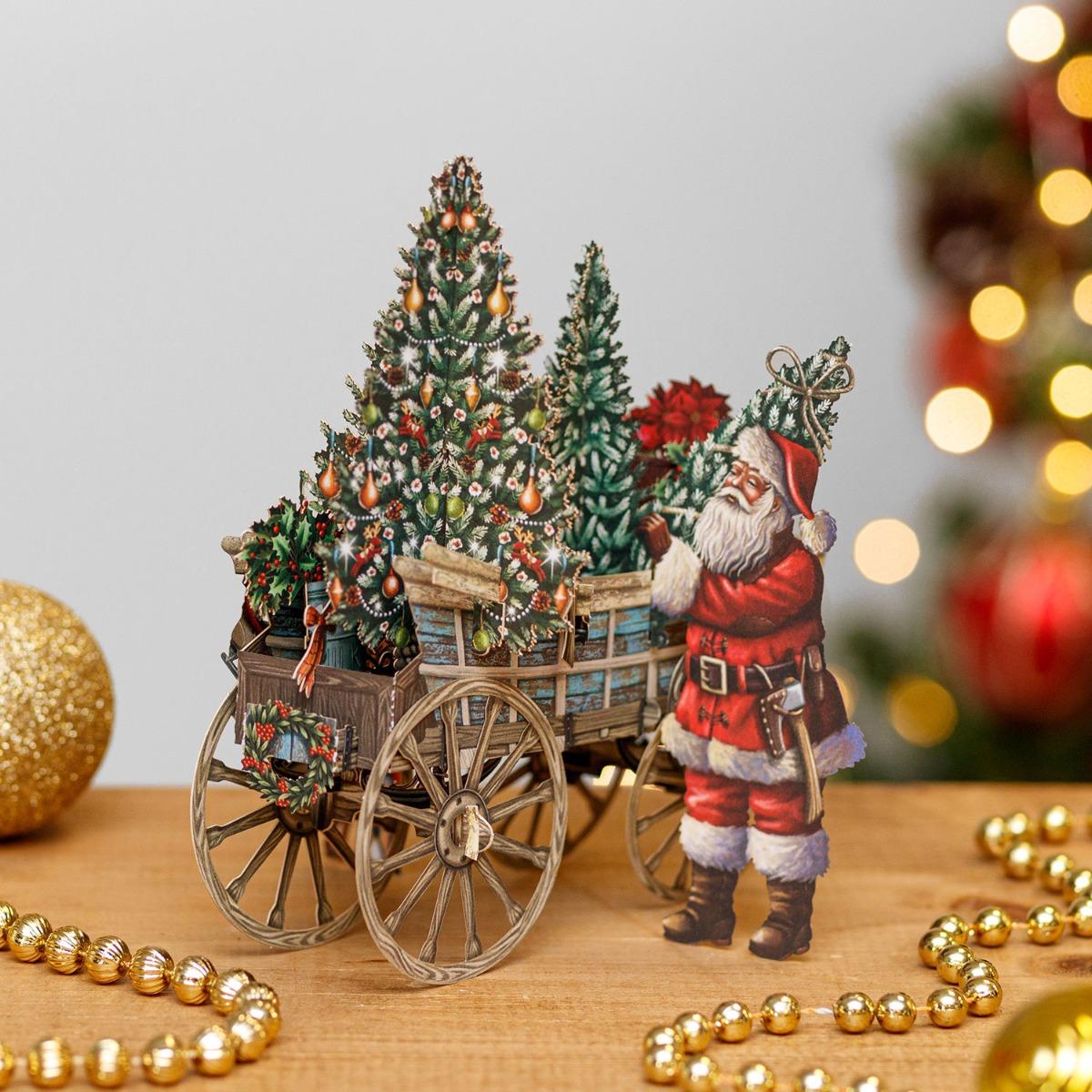 Me & McQ Santa's Wagon 3D Christmas Card