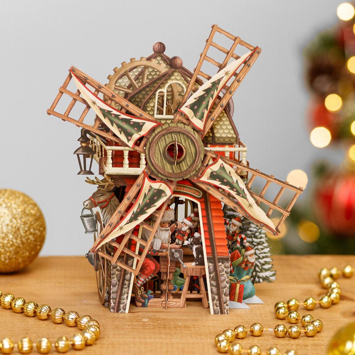 Me & McQ Santa's Windmill 3D Christmas Card