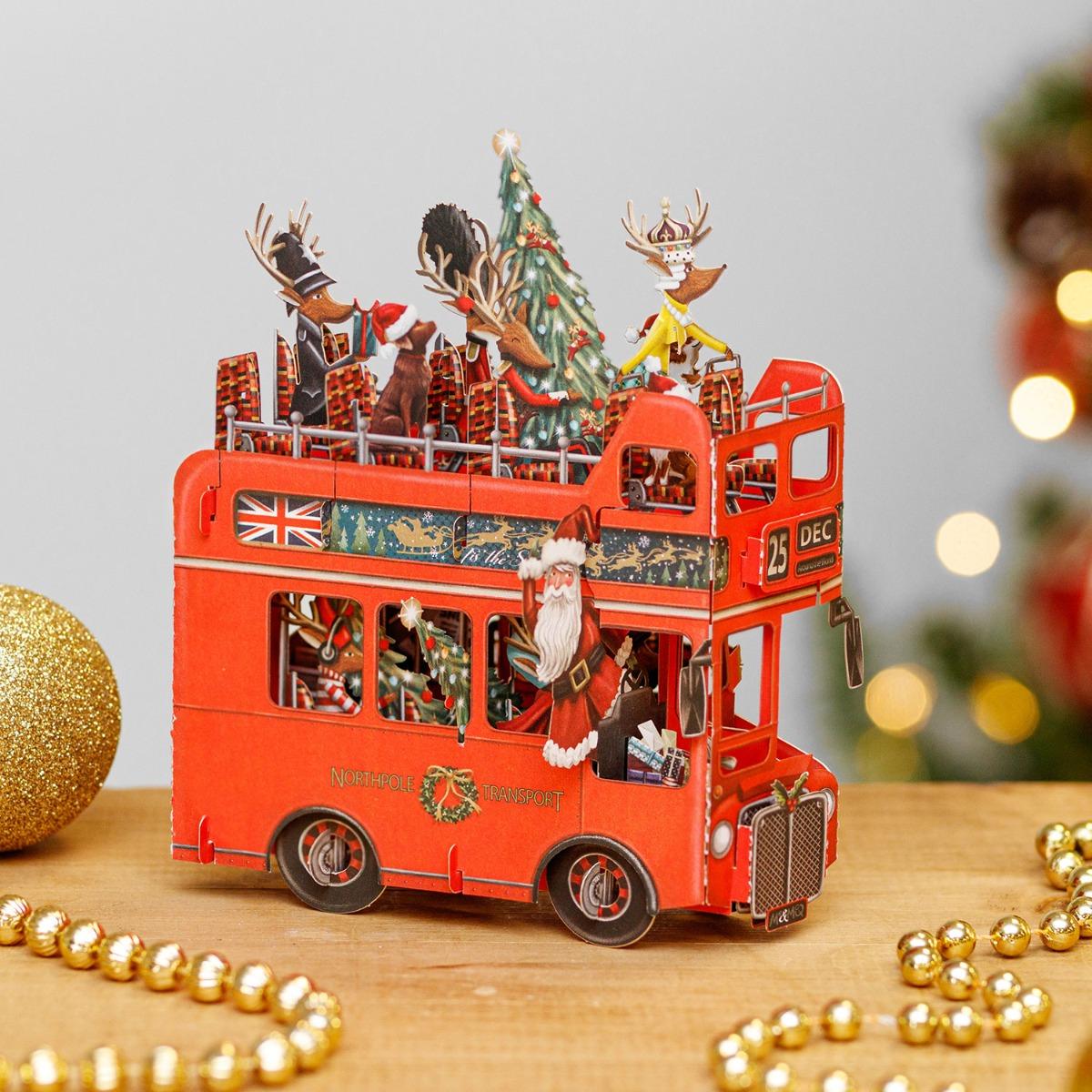 Me & McQ Santa's Bus 3D Christmas Card