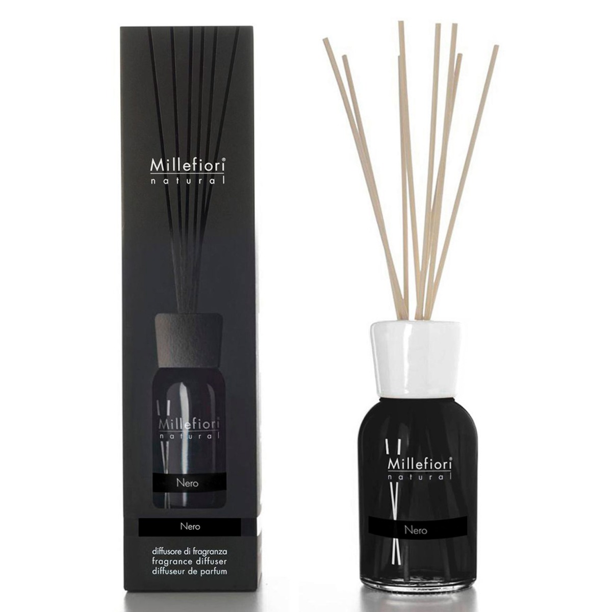 Millefiori Natural Nero 250ml Fragrance Diffuser Temptation Gifts