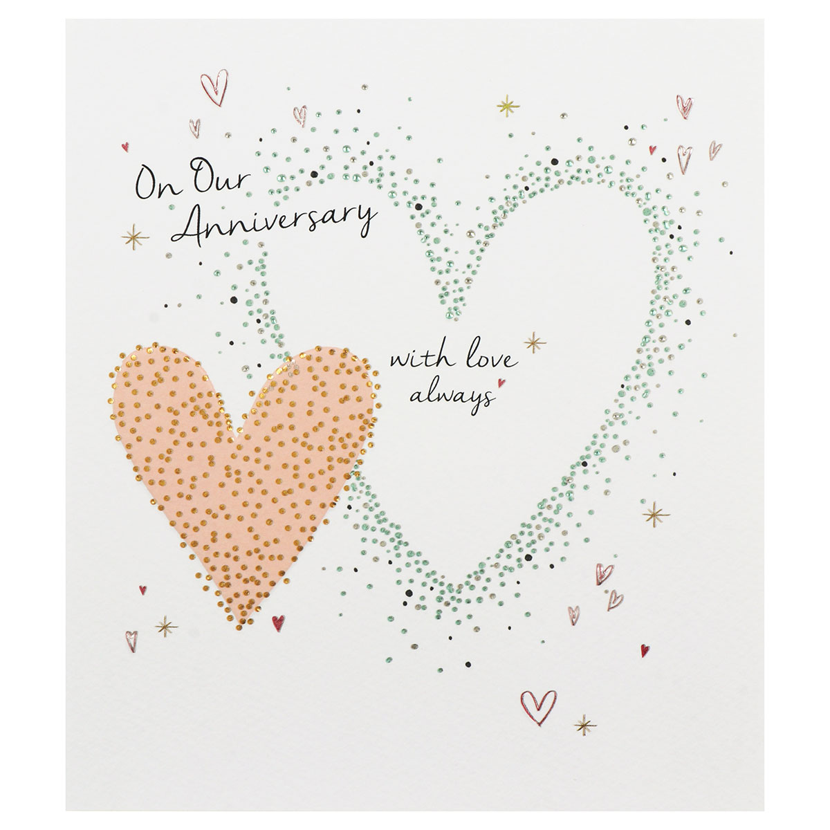 Paperlink Amaretto 'Our Anniversary' Hearts Greetings Card