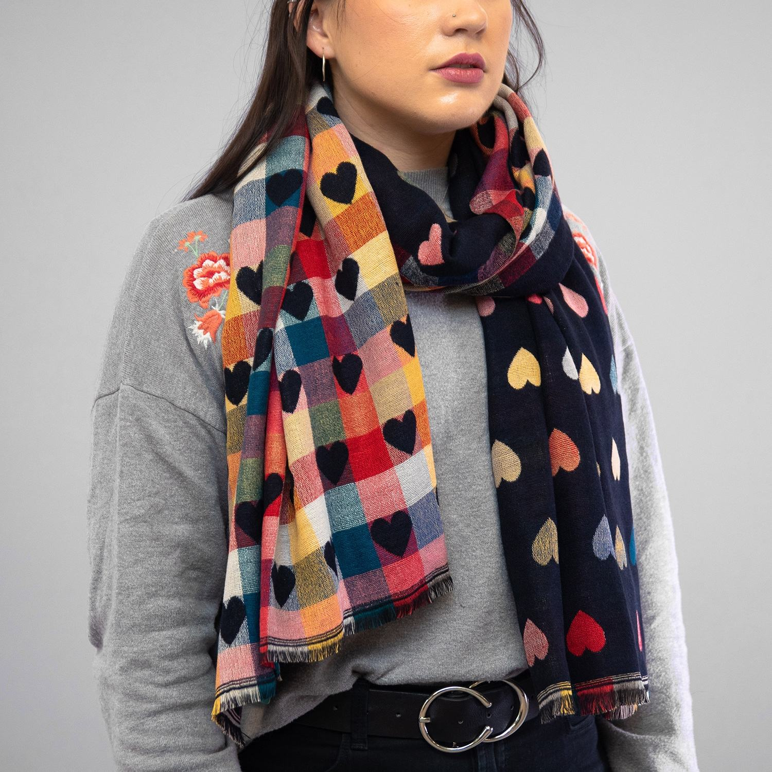 Peace Of Mind Navy Hearts Double Sided Scarf Temptation Gifts