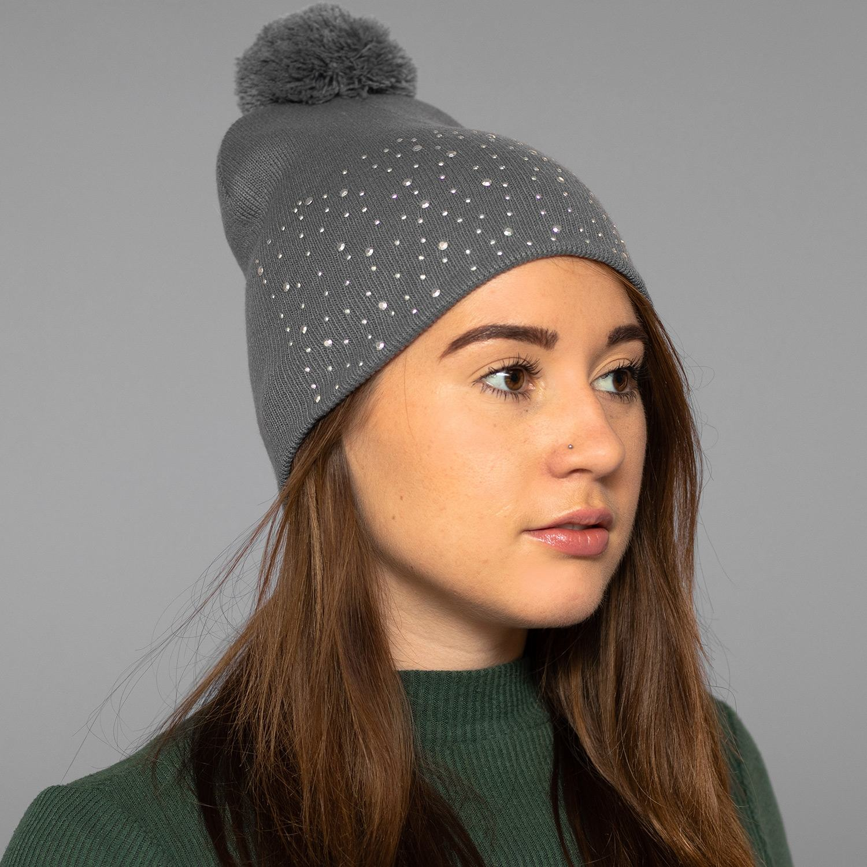 Grey Diamond Bobble Hat