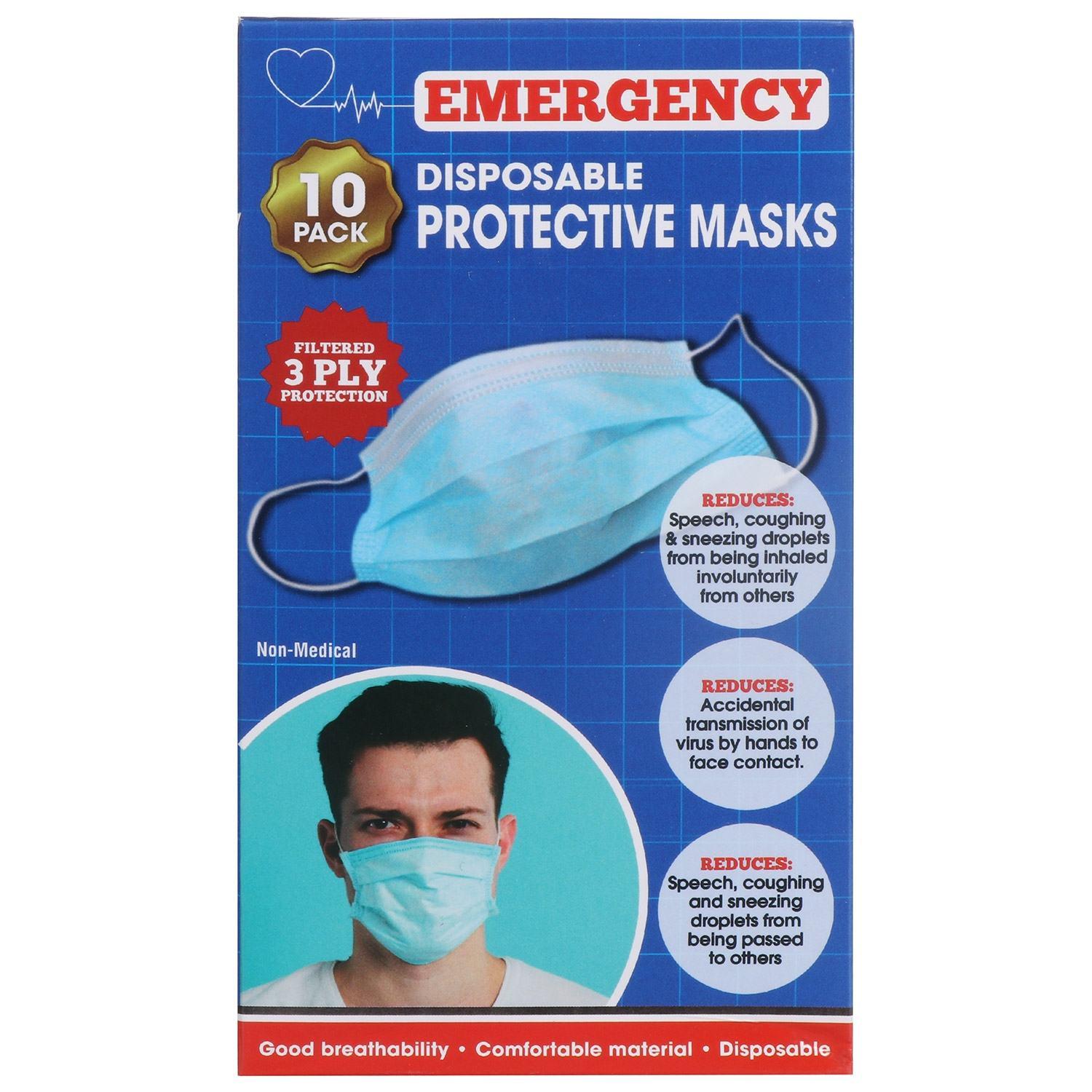 Disposable 3ply Face Masks – 10 Pack