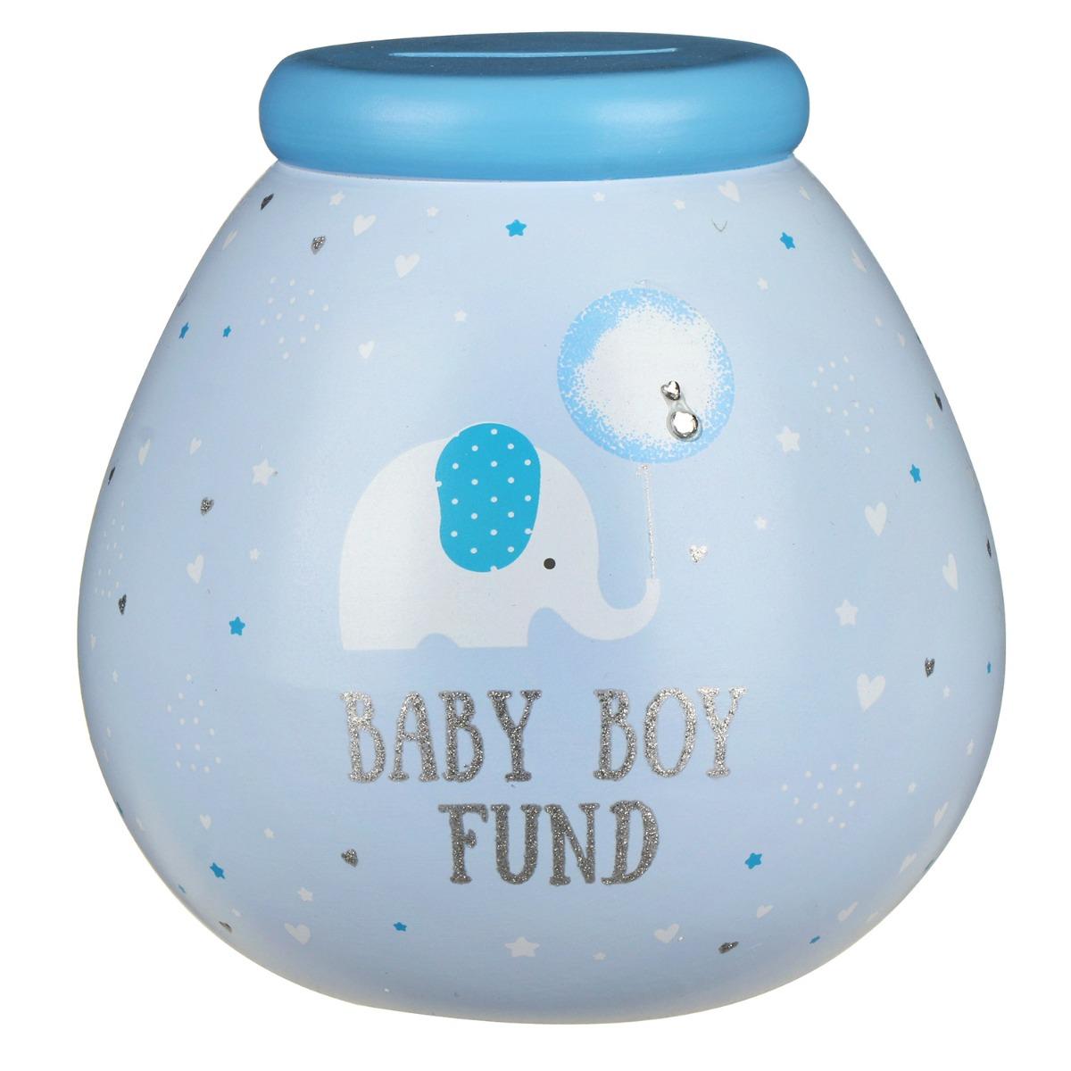 Pot of Dreams Little Elephant Baby Boy Fund Money Pot