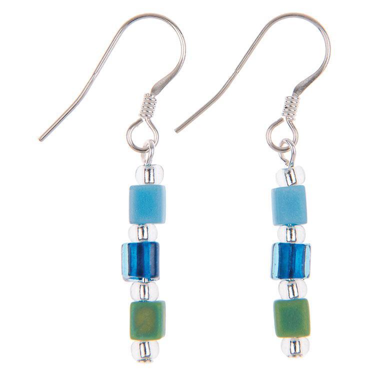 carrie elspeth blue shimmer cube earrings