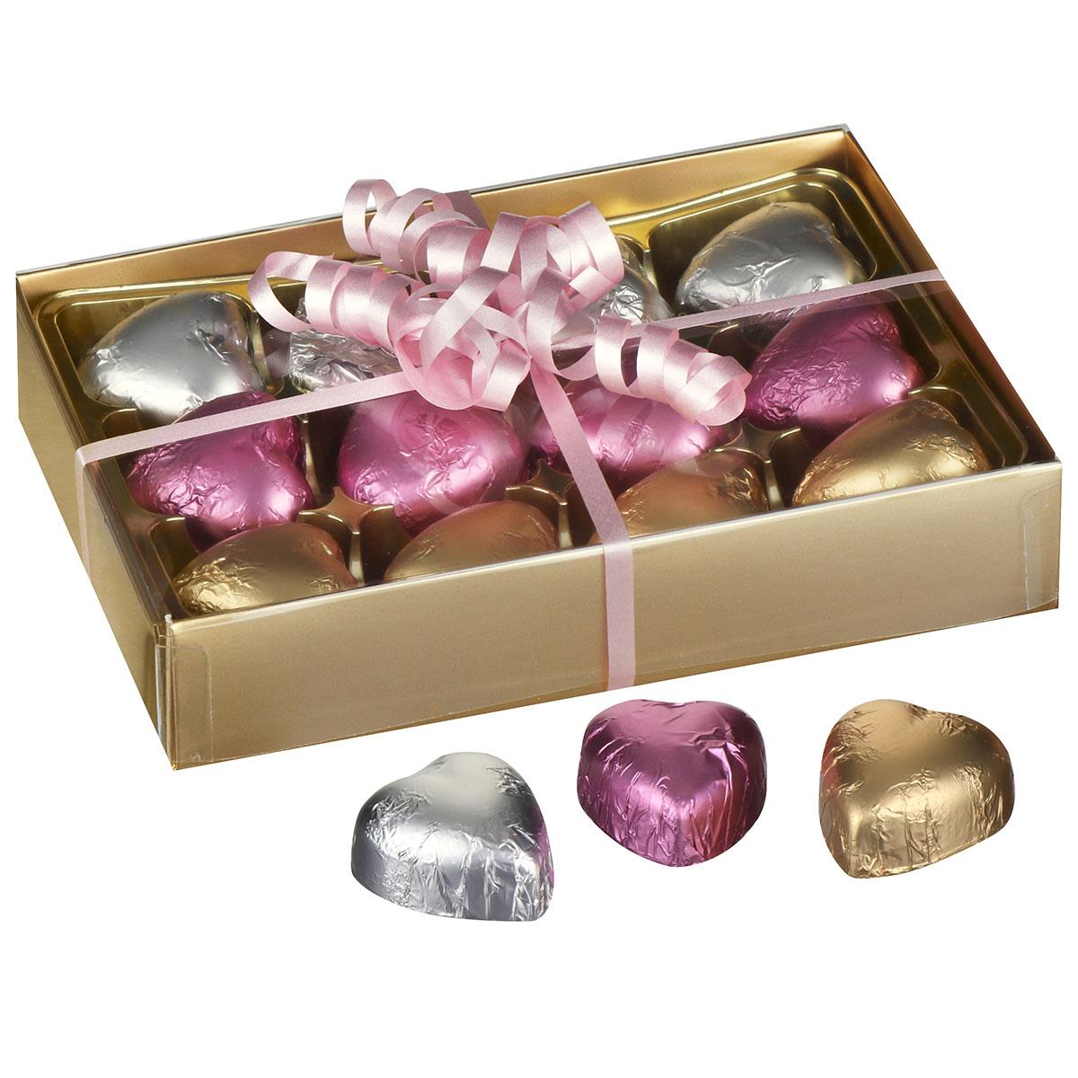 12 Hearts Belgian Chocolates in Gold Presentation Box