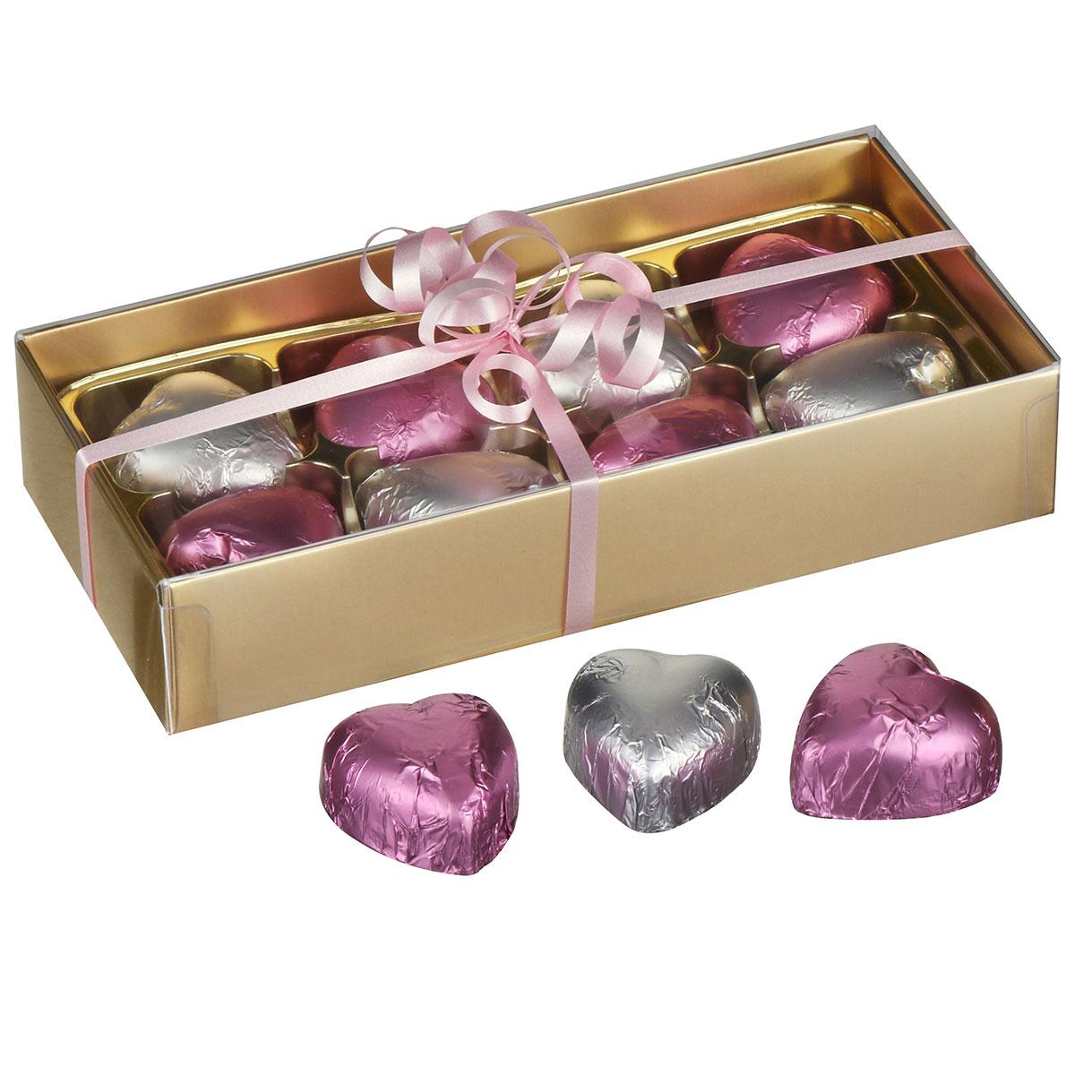 8 Hearts Belgian Chocolates in Gold Presentation Box