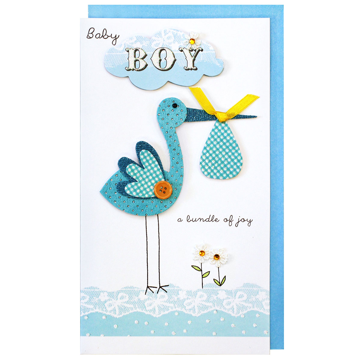 Second Nature Blue Stork 'Baby Boy' Card