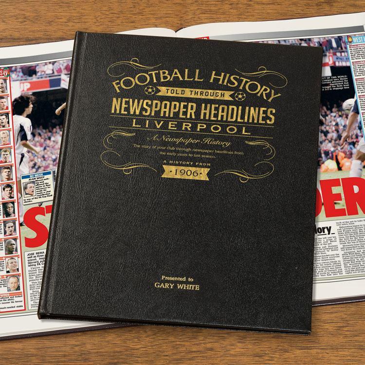 Personalised Luxury Leather Football Newspaper Book