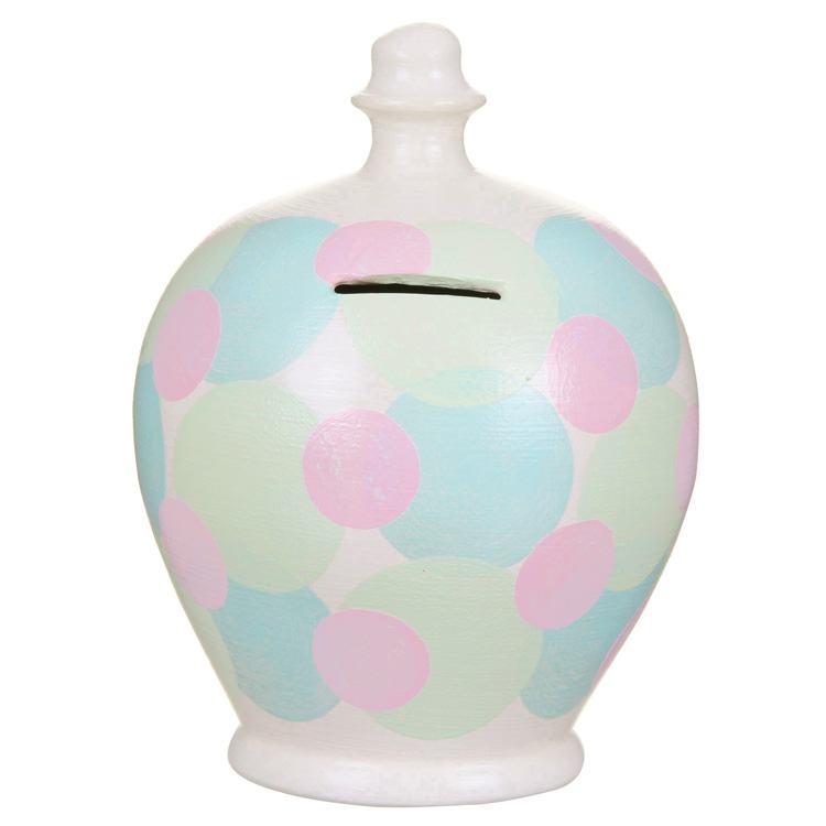 Terramundi Turquoise And Pink Pastel Spots Money Pot