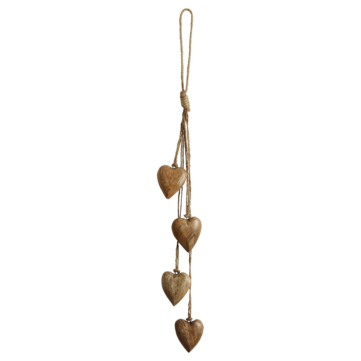 Transomnia Carved Mini Wooden Hearts Garland