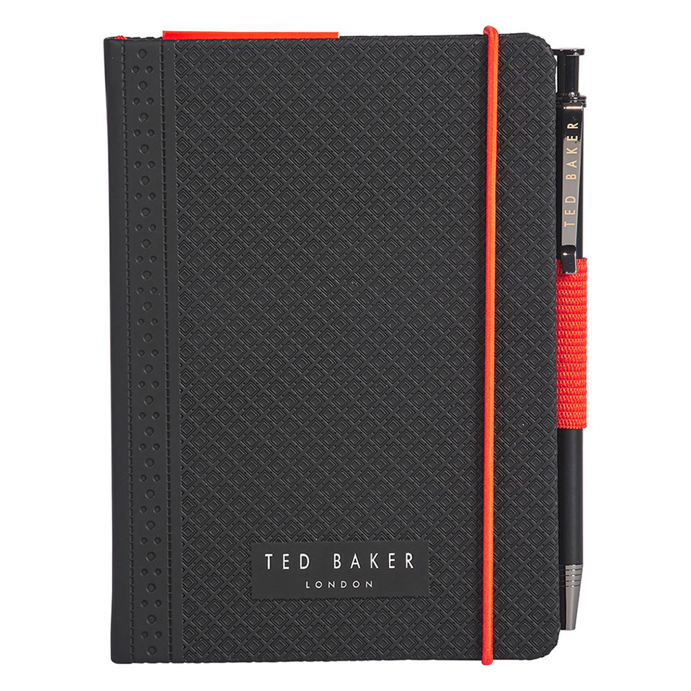 Ted Baker A6 Black Brogue Geo Notebook with Pen