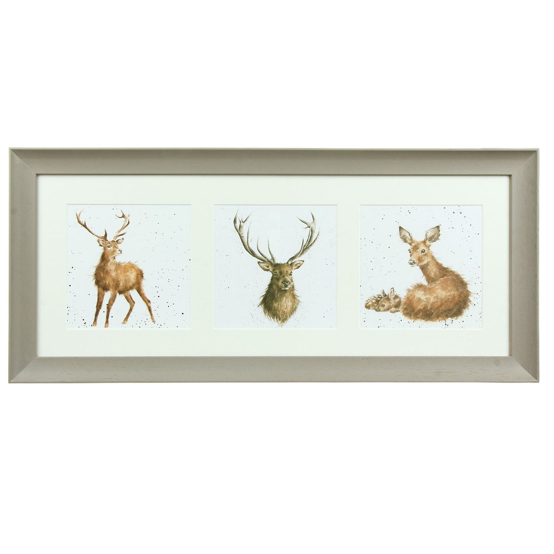 Wrendale A Trio of Deer Taupe Triple Framed Print