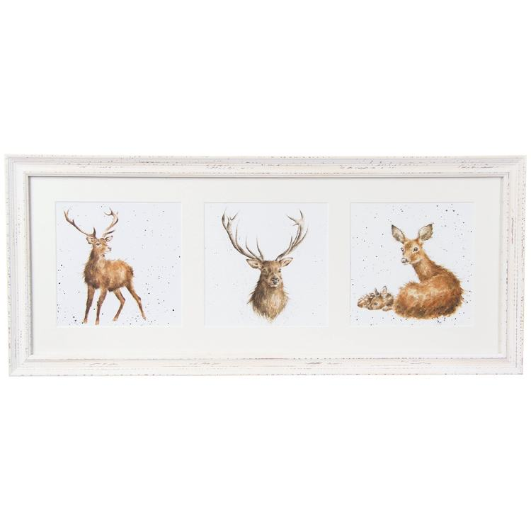 Wrendale A Trio Of Deer Triple Print With Cream Frame