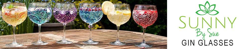 Sunny By Sue Hand Decorated Gin Glasses